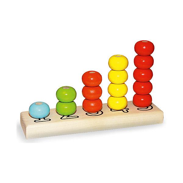 Деревянная пирамидка Alatoys Счеты, 5 цветов 15 деталейРазвивающие игрушки<br>Характеристики:<br><br>• возраст: от 3 лет;<br>• комплектация: основание, 15 деталей в виде колечек;<br>• диаметр колечка: 3 см;<br>• материал: дерево;<br>• упаковка: пленка;<br>• размер упаковки: 21х12х6 см.;<br>• страна бренда: Россия.<br><br>Пирамидка «Счеты» - правильная игрушка, которая должна быть у каждого малыша.<br><br>Основа пирамидки - это платформа с колышками разной длины, на которые нанизываются детали в виде колец. Цифры под колышками подскажут, сколько колец нужно на каждый из них надеть.<br><br>Пирамидка выполнена из дерева. Детали пирамидки окрашены в яркие цвета, тщательно отшлифованы и покрашены безопасными красками.<br><br>Играя с пирамидкой, ребенок разовьет мелкую моторику рук, логическое мышление, начальные навыки счета, внимание.<br><br>Пирамидку ALATOYS ПСЧ3001 Счеты 5 цв. 15 деталей можно купить в нашем интернет-магазине.<br>Ширина мм: 115; Глубина мм: 200; Высота мм: 50; Вес г: 250; Возраст от месяцев: 36; Возраст до месяцев: 2147483647; Пол: Унисекс; Возраст: Детский; SKU: 7140511;