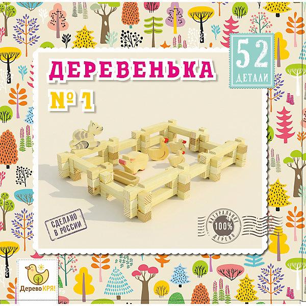 Деревянный конструктор Дерево кря! Деревенька № 1, 52 деталиДеревянные конструкторы<br>Характеристики:<br><br>• возраст: от 3 лет<br>• количество деталей: 52 шт.<br>• материал: дерево (сосна)<br>• упаковка: картонная коробка<br>• размер упаковки: 21х21,5х6 см.<br><br>«Деревенька» — развивающий эко-конструктор, созданный из натуральной сосны. В составе аккуратные деревянные брусочки разной длины, корыто и фигурки домашних животных. С таким набором маленький фермер обустроит собственное подворье с гусями, котом и свинкой.<br><br>Малыш будет складывать из брусочков заборчики, развивая мелкую моторику и воображение. Детали легко соединяются между собой и прочно держатся благодаря пазам. Не нужно ничего клеить и завинчивать.<br><br>Конструктор «Дерево Кря!» продолжает и преображает традиции отечественного деревянного конструктора. В СССР были популярны точно такие же наборы для строительства домиков. Спустя много лет легендарный конструктор вернулся, он обрел современный вид, но сохранил качество и натуральность.<br><br>Конструктор ДЕРЕВО КРЯ! dk-007 Деревенька №1 можно купить в нашем интернет-магазине.<br><br>Ширина мм: 210<br>Глубина мм: 215<br>Высота мм: 60<br>Вес г: 280<br>Возраст от месяцев: 36<br>Возраст до месяцев: 2147483647<br>Пол: Унисекс<br>Возраст: Детский<br>SKU: 7140516