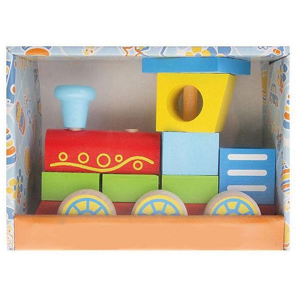 Деревянный конструктор-каталка Alatoys Паровоз, 9 деталейДеревянные конструкторы<br>Характеристики:<br><br>• возраст: от 1 года<br>• комплектация: платформа с колесиками, 9 деталей<br>• материал: древесина (береза)<br>• размер собранного паровоза: 10х12х8 см.<br>• упаковка: картонная коробка<br>• размер упаковки: 13,5х19х8,5 см.<br>• вес: 496 гр.<br><br>Конструктор-каталка «Паровоз» - правильная игрушка, которая должна быть у каждого мальчика.<br><br>Основание паровозика - это платформа на колесиках со штырьками, на которые нанизываются детали конструктора. Собранным паровозиком можно играть, как игрушкой-каталкой.<br><br>Элементы конструктора изготовлены из цельной древесины березы, тщательно отшлифованы, покрыты нетоксичными акриловыми красками, безопасными для здоровья малыша. Мелкие детали отсутствуют.<br><br>Конструктор развивает мелкую моторику, пространственное и логическое мышление.<br><br>Конструктор ALATOYS ККП01 Конструктор-каталку Паровоз можно купить в нашем интернет-магазине.<br><br>Ширина мм: 135<br>Глубина мм: 190<br>Высота мм: 85<br>Вес г: 496<br>Возраст от месяцев: 36<br>Возраст до месяцев: 2147483647<br>Пол: Унисекс<br>Возраст: Детский<br>SKU: 7140528
