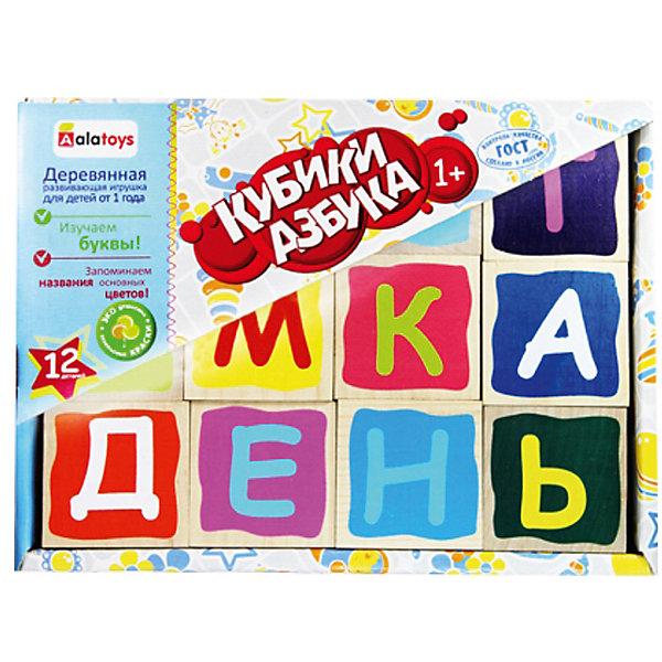 Деревянные кубики Alatoys Азбука, 12 штук (окрашенные)Развивающие игрушки<br>Характеристики:<br><br>• возраст: от 3 лет<br>• комплектация: 12 кубиков<br>• материал: древесина<br>• упаковка: картонная коробка открытого типа<br>• размер упаковки: 13х17,5х4,5 см.<br>• вес: 515 гр.<br><br>Обучающие кубики Alatoys помогут малышу выучить алфавит. На ярких гранях кубиков нанесены цветные буквы.<br><br>Попросите малыша выбрать любой понравившийся кубик и расскажите ему про букву на его грани. Выберите два кубика и сравните, какая буква обозначает гласный звук, а какая согласный. Обратите внимание ребенка на буквы, которые не имеют собственного звука. Объясните, как эти буквы влияют на соседние.<br><br>Играя в кубики, ребенок будет учиться составлять слоги, простые слова, или просто строить различные башенки и пирамидки.<br><br>Кубики изготовлены из цельной древесины и тщательно отшлифованы, окрашены нетоксичными акриловыми красками. Кубики долговечны и безопасны, их приятно держать в руках.<br><br>Кубики ALATOYS КБА1202 Кубики Азбука окрашенные 12 шт. можно купить в нашем интернет-магазине.<br><br>Ширина мм: 130<br>Глубина мм: 175<br>Высота мм: 45<br>Вес г: 515<br>Возраст от месяцев: 36<br>Возраст до месяцев: 2147483647<br>Пол: Унисекс<br>Возраст: Детский<br>SKU: 7140534