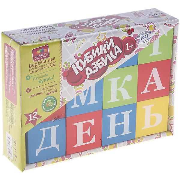 Деревянные кубики Alatoys Азбука, 12 штук (окрашенные, 4 цвета)Деревянные игрушки<br>Характеристики:<br><br>• возраст: от 3 лет<br>• комплектация: 12 кубиков<br>• цвета: красный, синий, желтый, зеленый<br>• материал: древесина<br>• упаковка: картонная коробка открытого типа<br>• размер упаковки: 13х17,5х4,5 см.<br>• вес: 542 гр.<br><br>Обучающие кубики Alatoys помогут малышу выучить алфавит. На ярких гранях кубиков нанесены белые буквы.<br><br>Попросите малыша выбрать любой понравившийся кубик и расскажите ему про букву на его грани. Выберите два кубика и сравните, какая буква обозначает гласный звук, а какая согласный. Обратите внимание ребенка на буквы, которые не имеют собственного звука. Объясните, как эти буквы влияют на соседние.<br><br>Играя в кубики, ребенок будет учиться составлять слоги, простые слова, или просто строить различные башенки и пирамидки.<br><br>Кубики изготовлены из цельной древесины и тщательно отшлифованы, окрашены нетоксичными акриловыми красками. Кубики долговечны и безопасны, их приятно держать в руках.<br><br>Кубики ALATOYS КБА1201 Кубики Азбука окрашенные 12шт. 4 цвета можно купить в нашем интернет-магазине.<br><br>Ширина мм: 130<br>Глубина мм: 175<br>Высота мм: 45<br>Вес г: 542<br>Возраст от месяцев: 36<br>Возраст до месяцев: 2147483647<br>Пол: Унисекс<br>Возраст: Детский<br>SKU: 7140535