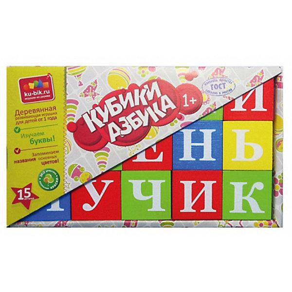 Деревянные кубики Alatoys Азбука 15 шт (окрашенные)Развивающие игрушки<br>Характеристики:<br><br>• возраст: от 3 лет<br>• комплектация: 15 кубиков<br>• материал: древесина<br>• упаковка: картонная коробка открытого типа<br>• размер упаковки: 13х22х4,5 см.<br>• вес: 666 гр.<br><br>Обучающие кубики Alatoys помогут малышу выучить алфавит. На ярких гранях кубиков нанесены белые буквы.<br><br>Попросите малыша выбрать любой понравившийся кубик и расскажите ему про букву на его грани. Выберите два кубика и сравните, какая буква обозначает гласный звук, а какая согласный. Обратите внимание ребенка на буквы, которые не имеют собственного звука. Объясните, как эти буквы влияют на соседние.<br><br>Играя в кубики, ребенок будет учиться составлять слоги, простые слова, или просто строить различные башенки и пирамидки.<br><br>Кубики изготовлены из цельной древесины и тщательно отшлифованы, окрашены нетоксичными акриловыми красками. Кубики долговечны и безопасны, их приятно держать в руках.<br><br>Кубики ALATOYS КБА1501 Кубики Азбука окрашенные 15 шт. можно купить в нашем интернет-магазине.<br><br>Ширина мм: 130<br>Глубина мм: 220<br>Высота мм: 45<br>Вес г: 666<br>Возраст от месяцев: 36<br>Возраст до месяцев: 2147483647<br>Пол: Унисекс<br>Возраст: Детский<br>SKU: 7140542