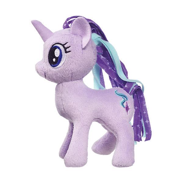 Мягкая игрушка Hasbro My little Pony Маленькие плюшевые пони, Старлайт Глиммер 13 смМягкие игрушки из мультфильмов<br>Характеристики товара:<br><br>• возраст: от 3 лет;<br>• материал: плюш;<br>• размер упаковки: 9х21х31 см;<br>• вес: 260 гр;<br>•высота игрушки: 30 см;<br>•страна бренда: США;<br>• бренд: Hasbro.<br><br>Новая серия плюшевых игрушек от My Little Pony понравится каждой любительнице одноименного мультипликационного фильма. Плюшевая пони из этой серии Старлайт Глиммер готова разделить все игровые идеи девочек.<br><br>Старлайт Глиммер - это фиолетовая пони с мерцающей гривой в фиолетово-голубых тонах. Игрушка детально повторяет свой мультипликационный прототип. У нее большие синие глазки и олицетворяющий её значок с изображением искры на бедре. <br><br>У игрушки подвижные конечности, что позволяет воплощать различные идеи ребенка в жизнь. Изделие выполнено из высококачественных материалов в яркой цветовой гамме с возможностью машинной стирки.<br><br>Игрушку «Маленькие плюшевые пони My Little Pony» Старлайт Глиммер можно купить в нашем интернет-магазине.<br>Ширина мм: 102; Глубина мм: 102; Высота мм: 127; Вес г: 39; Возраст от месяцев: 36; Возраст до месяцев: 2147483647; Пол: Женский; Возраст: Детский; SKU: 7140853;