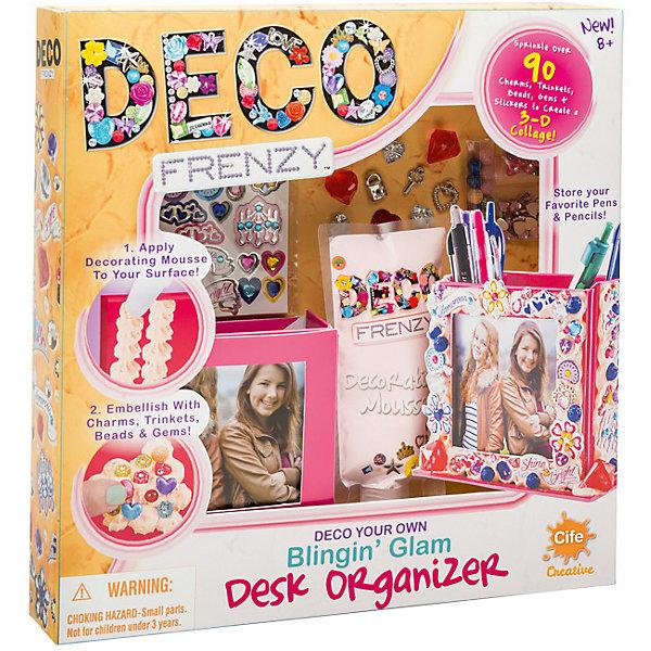 Набор для декорирования Cife Spain Business Deco Frenzy, Роскошная подставка для ручекНаборы стилиста и дизайнера<br>Характеристики:<br><br>• размер: 30,5х30,5х5см.;<br>• материал: картон;<br>• вес: 350г.;<br>• для детей в возрасте: от 6лет;<br>• страна производитель: Китай;<br><br>Набор для декорирования Deco Frenzy (Деко Френзи) «Роскошная подставка для ручек» бренда Cife Spain Business (Сайф Спейн Бизнес) станет хорошим подарком для девочек.<br><br>В наборе для рукоделия находится комплект для украшения подставки, мечта каждой девочки. Она сама сможет создать и украсить её по своему вкусу. Для этого в комплекте имеется всё самое необходимое: наклейки и блёстки, а также паста для фиксации.<br><br>Создавать свою новую подставку своими руками девочка с удовольствием будет вместе со своими подругами.<br><br>Создание образа поможет развить любовь к стилистике, фантазию и внимание.<br><br>Набор для декорирования Deco Frenzy (Деко Френзи) «Роскошная подставка для ручек» можно купить в нашем интернет-магазине.<br>Ширина мм: 305; Глубина мм: 305; Высота мм: 50; Вес г: 350; Возраст от месяцев: 72; Возраст до месяцев: 144; Пол: Женский; Возраст: Детский; SKU: 7141905;
