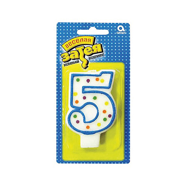 Свеча для торта Веселая затея Цифра 5, 7,6 смНовинки для праздника<br>Характеристики товара:<br><br>• возраст: от 3 лет;<br>• упаковка: пакет с хедером;<br>• количество в упаковки - 1 шт.;<br>• высота изделия - 7,6 см.;<br>• материал: дерево, бумага;<br>• бренд: Веселая Затея;<br>• страна-производитель: Китай.<br><br>Праздничная свечка «Цифра 5» станет лучшим вариантом украшения торта на праздновании Дня рождения. С помощью свечи для торта  «Цифра 5» с синей оконтовкой вы порадуете себя и своих близких, и сделаете день рождения незабываемым.  <br><br>Свечка  от российского бренда Веселая Затея изготовлены из высококачественных нетоксичных материалов и безопасны для детского здоровья. Фитиль по мере сгорания не создает большого пламени и нагара.<br><br>Праздничную свечку «Цифра 5», 7,6 см., 1 шт., Веселая Затея можно купить в нашем интернет-магазине.<br>Ширина мм: 145; Глубина мм: 15; Высота мм: 75; Вес г: 32; Возраст от месяцев: 36; Возраст до месяцев: 2147483647; Пол: Унисекс; Возраст: Детский; SKU: 7142861;