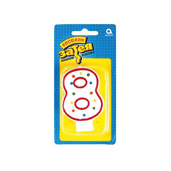 Свеча для торта Веселая затея Цифра 8, 7,6 смНовинки для праздника<br>Характеристики товара:<br><br>• возраст: от 3 лет;<br>• упаковка: пакет с хедером;<br>• количество в упаковки - 1 шт.;<br>• высота изделия - 7,6 см.;<br>• материал: дерево, бумага;<br>• бренд: Веселая Затея;<br>• страна-производитель: Китай.<br><br>Праздничная свечка «Цифра 8» станет лучшим вариантом украшения торта на праздновании Дня рождения. С помощью свечи для торта  «Цифра 8» с красной оконтовкой вы порадуете себя и своих близких, и сделаете день рождения незабываемым.  <br><br>Свечка  от российского бренда Веселая Затея изготовлены из высококачественных нетоксичных материалов и безопасны для детского здоровья. Фитиль по мере сгорания не создает большого пламени и нагара.<br><br>Праздничную свечку «Цифра 8», 7,6 см., 1 шт., Веселая Затея можно купить в нашем интернет-магазине.<br>Ширина мм: 145; Глубина мм: 15; Высота мм: 75; Вес г: 32; Возраст от месяцев: 36; Возраст до месяцев: 2147483647; Пол: Унисекс; Возраст: Детский; SKU: 7142864;