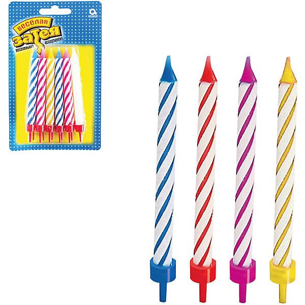 Свечи  для торта с подставкой Веселая затея, 12 шт 8,5 смДетские свечи для торта<br>Характеристики товара:<br><br>• возраст: от 3 лет;<br>• упаковка: блистер;<br>• количество в упаковки - 12 шт.;<br>• высота изделия - 8,5 см.;<br>• материал: парафин текстиль;<br>• бренд: Веселая Затея;<br>• страна-производитель: Китай.<br><br>Праздничные свечи для торта с подставкой - это набор из 12 ярких разноцветных свечей для украшения торта в день рождения. С помощью ярких свечей с подставкой вы легко сможете установить их на торт и сделаете день рождения незабываемым.  <br><br>Свечи от российского бренда Веселая Затея изготовлены из высококачественных нетоксичных материалов и безопасны для детского здоровья. Фитиль по мере сгорания не создает большого пламени и нагара.<br><br>Праздничные свечи для торта с подставкой, 8,5 см., 12 шт., Веселая Затея можно купить в нашем интернет-магазине.<br><br>Ширина мм: 155<br>Глубина мм: 95<br>Высота мм: 20<br>Вес г: 52<br>Возраст от месяцев: 36<br>Возраст до месяцев: 2147483647<br>Пол: Унисекс<br>Возраст: Детский<br>SKU: 7142869