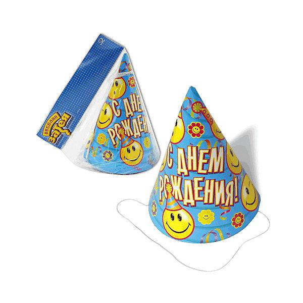 Праздничный колпак Веселя затея С днем рождения. Улыбки, 8 штДетские шляпы и колпаки<br>Характеристики товара:<br><br>• возраст: от 3 лет;<br>• упаковка: пакет с хедером;<br>• количество в упаковке - 8 шт.;<br>• габариты изделия - 17,5х13х13 см.;<br>• материал: плотный картон, текстиль;<br>• бренд: Веселая Затея;<br>• страна-производитель: Китай.<br><br>Праздничный колпак «С ДНЕМ РОЖДЕНИЯ» - это набор из 8-ми ярких аксессуаров на голову с изображением смайликов оживят любую вечеринку или мероприятие и придадут им незабываемую атмосферу. <br><br>Колпаки от российского бренда Веселая Затея, который на протяжении многих лет производит качественные товары для детского праздника, товар изготовлен из безопасных для здоровья ребенка материалов, прошедших соответствие европейским стандартам качества. <br><br>Праздничные колпаки «С ДНЕМ РОЖДЕНИЯ», 8 шт., Веселая Затея  можно купить в нашем интернет-магазине.<br>Ширина мм: 170; Глубина мм: 140; Высота мм: 36; Вес г: 105; Возраст от месяцев: 36; Возраст до месяцев: 2147483647; Пол: Унисекс; Возраст: Детский; SKU: 7142872;