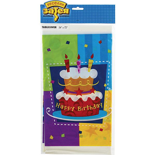 Скатерть Веселая затея Торт, 140х180 смСалфетки и скатерти<br>Характеристики товара:<br><br>• возраст: от 3 лет;<br>• упаковка: пакет;<br>• количество в упаковке: 1 шт.;<br>• размер скатерти: 140х180 см.;<br>• цвет: мультиколор;<br>• материал: полипропилен ;<br>• бренд: Веселая Затея;<br>• страна-производитель: Китай.<br><br>Скатерть «ТОРТ» - отлично подойдет для детского дня рождения, она гармонично впишется в праздничную атмосферу, а яркие изображения на ней помогут поднять настроение гостей.<br><br>Товары для праздника  от российского бренда Веселая Затея отличаются высоким качеством используемого материала. Скатерть изготовлена из водоотталкивающего полиэтилена,который облегчит вам процесс уборки после праздника.<br><br>Скатерть «ТОРТ» , 140х180 см., 1 шт., Веселая Затея  можно купить в нашем интернет-магазине.<br>Ширина мм: 410; Глубина мм: 210; Высота мм: 3; Вес г: 122; Возраст от месяцев: 36; Возраст до месяцев: 2147483647; Пол: Унисекс; Возраст: Детский; SKU: 7142877;