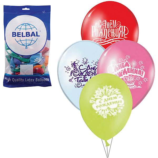 Воздушные шары 14 Веселая затея С днем рожения 50 шт, 36 см (6 рисунков, 12 цветов)Воздушные шары<br>Характеристики товара:<br><br>• возраст: от 3 лет;<br>• упаковка: пакет с хедером;<br>• количество шаров: 50 шт.;<br>• диаметр: 36 см.;<br>• цвет: мульти неон;<br>• состав: латекс 100%;<br>• бренд, страна: Веселая Затея, Россия;<br>• страна-производитель: Италия.<br><br>Набор из 50 шаров «С ДНЕМ РОЖДЕНИЯ» 12 цветов помогут ярко украсить комнату и подарят заряд радости и позитива всем гостям вашего торжества. Шары с большим шелкографическим рисунком с самыми добрыми поздравления.<br><br>Насыщенный цвет, легкое надувание и высококачественные материалы выгодно отличают их среди других праздничных аксессуаров. Вы можете надувать шарики самостоятельно или воспользоваться насосом, который быстро справится с задачей. <br><br>Набор из 50 шаров «С ДНЕМ РОЖДЕНИЯ», 12 цветов,  Веселая Затея  можно купить в нашем интернет-магазине.<br>Ширина мм: 310; Глубина мм: 170; Высота мм: 20; Вес г: 190; Возраст от месяцев: -2147483648; Возраст до месяцев: 2147483647; Пол: Унисекс; Возраст: Детский; SKU: 7142888;