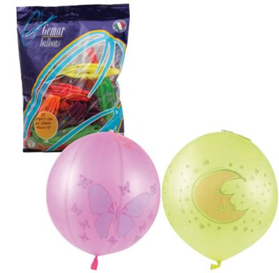 Веселая Затея Воздушные шары 16 Веселая затея Панч-болл 25 шт, 41 см (8 рисунков, 12 цветов неон) фото-1