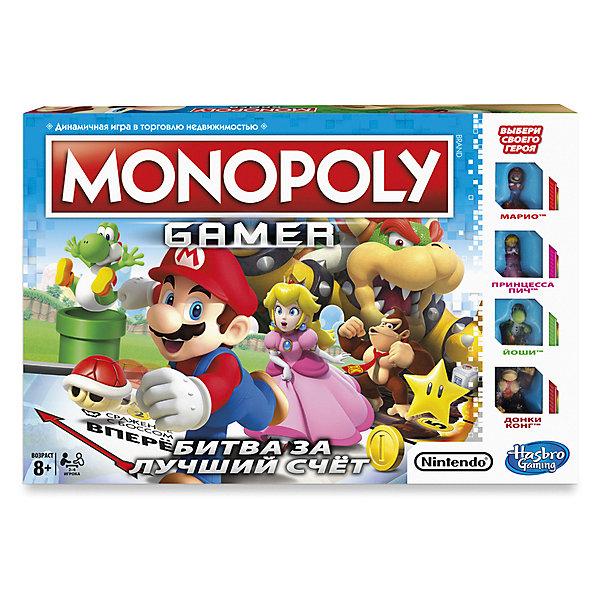 Настольная игры Hasbro Games, Монополия геймерЭкономические настольные игры<br>Характеристики товара:<br><br>• возраст: от 8 лет;<br>• материал: пластик, картон;<br>• в комплекте: игровое поле, 4 фишки-героя, 4 карточки с описанием героя, 30 съемных сторон кубика, 4 стороны кубика с героями, 4 черные стороны кубика, 24 белые стороны кубика, 16 карточек уровней игры, 10 карточек Босса, 30 желтых монет, 10 золотых монет, 1 кубик, инструкция;<br>• размер упаковки: 27,3х27,3х40,6 см;<br>• вес упаковки: 5,11 кг;<br>• страна производитель: Китай.<br><br>Настольная игра «Монополия. Геймер» Hasbro - популярная и известная игра Монополия, где предстоит торговать недвижимостью, продавать, покупать, собирать деньги, сражаться с боссами и многое другое. Фишки в игре выполнены в виде персонажей видеоигры «Марио».<br><br>Настольную игру «Монополия. Геймер» Hasbro можно приобрести в нашем интернет-магазине.<br>Ширина мм: 406; Глубина мм: 273; Высота мм: 273; Вес г: 5110; Возраст от месяцев: 96; Возраст до месяцев: 2147483647; Пол: Унисекс; Возраст: Детский; SKU: 7143017;