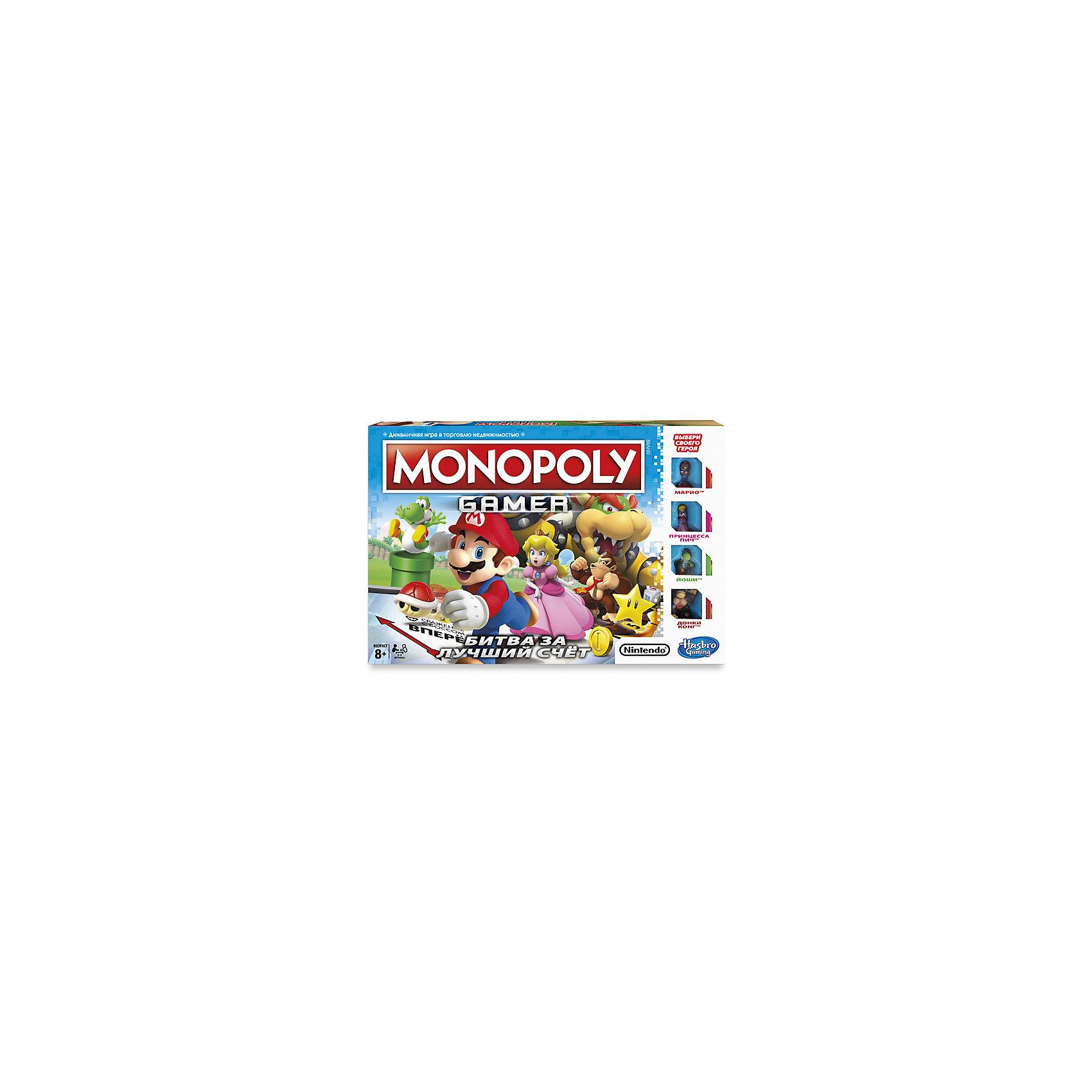 Настольная игры Hasbro Games, Монополия геймерЭкономические настольные игры<br>Характеристики товара:<br><br>• возраст: от 8 лет;<br>• материал: пластик, картон;<br>• в комплекте: игровое поле, 4 фишки-героя, 4 карточки с описанием героя, 30 съемных сторон кубика, 4 стороны кубика с героями, 4 черные стороны кубика, 24 белые стороны кубика, 16 карточек уровней игры, 10 карточек Босса, 30 желтых монет, 10 золотых монет, 1 кубик, инструкция;<br>• размер упаковки: 27,3х27,3х40,6 см;<br>• вес упаковки: 5,11 кг;<br>• страна производитель: Китай.<br><br>Настольная игра «Монополия. Геймер» Hasbro - популярная и известная игра Монополия, где предстоит торговать недвижимостью, продавать, покупать, собирать деньги, сражаться с боссами и многое другое. Фишки в игре выполнены в виде персонажей видеоигры «Марио».<br><br>Настольную игру «Монополия. Геймер» Hasbro можно приобрести в нашем интернет-магазине.<br><br>Ширина мм: 406<br>Глубина мм: 273<br>Высота мм: 273<br>Вес г: 5110<br>Возраст от месяцев: 96<br>Возраст до месяцев: 2147483647<br>Пол: Унисекс<br>Возраст: Детский<br>SKU: 7143017