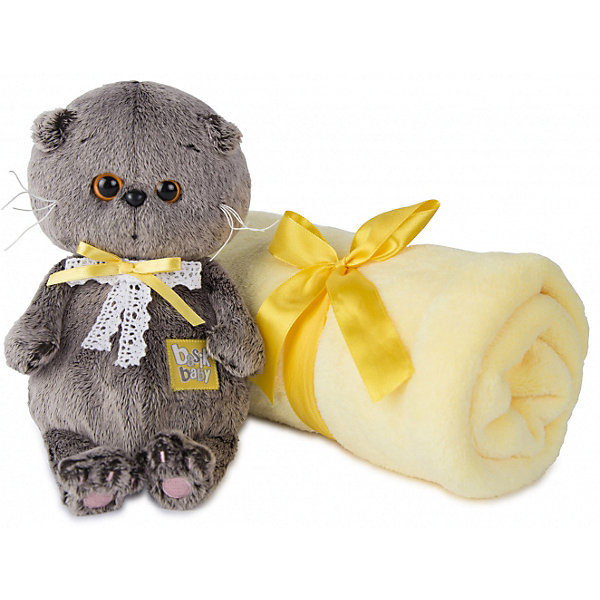 Мягкая игрушка Budi Basa Кот Басик Baby с детским пледом, 20 смМягкие игрушки животные<br>Характеристики товара:<br><br>• возраст: от 3 лет;<br>• материал: текстиль, искусственный мех;<br>• в комплекте: игрушка, плед;<br>• высота игрушки: 20 см;<br>• размер пледа: 100х80 см;<br>• размер упаковки: 22х15х11 см;<br>• вес упаковки: 320 гр.;<br>• страна производитель: Россия.<br><br>Мягкая игрушка «Басик Baby с детским пледом» Budi Basa - очаровательный пушистый котенок с добрыми глазками. Басик еще совсем малыш. У Басика на шее повязаны 2 ленточки. В комплекте с игрушкой плед из микрофибры, которым можно укрыть ребенка. Игрушка выполнена из качественного безопасного материала, настолько приятного и мягкого, что ребенок будет брать с собой котенка в кроватку и спать в обнимку.<br><br>Мягкую игрушку «Басик Baby с детским пледом» Budi Basa можно приобрести в нашем интернет-магазине.<br><br>Ширина мм: 22<br>Глубина мм: 15<br>Высота мм: 11<br>Вес г: 320<br>Возраст от месяцев: 36<br>Возраст до месяцев: 84<br>Пол: Женский<br>Возраст: Детский<br>SKU: 7143350