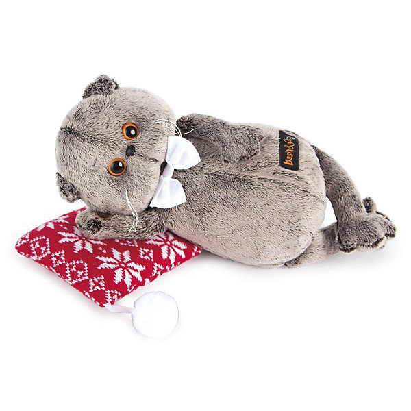 Басик на подушке.Мягкие игрушки-кошки<br>Характеристики товара:<br><br>• возраст: от 3 лет;<br>• материал: текстиль, искусственный мех;<br>• в комплекте: игрушка, подушка;<br>• высота игрушки: 18 см;<br>• размер упаковки: 22х15х11 см;<br>• вес упаковки: 320 гр.;<br>• страна производитель: Россия.<br><br>Мягкая игрушка «Басик на подушке» Budi Basa - очаровательный пушистый котенок с добрыми глазками. Басик отдыхает на мягкой подушечке. На самом котике белая атласная бабочка. Игрушка выполнена из качественного безопасного материала, настолько приятного и мягкого, что ребенок будет брать с собой котенка в кроватку и спать в обнимку.<br><br>Мягкую игрушку «Басик на подушке» Budi Basa можно приобрести в нашем интернет-магазине.<br><br>Ширина мм: 22<br>Глубина мм: 15<br>Высота мм: 11<br>Вес г: 320<br>Возраст от месяцев: 36<br>Возраст до месяцев: 84<br>Пол: Женский<br>Возраст: Детский<br>SKU: 7143353