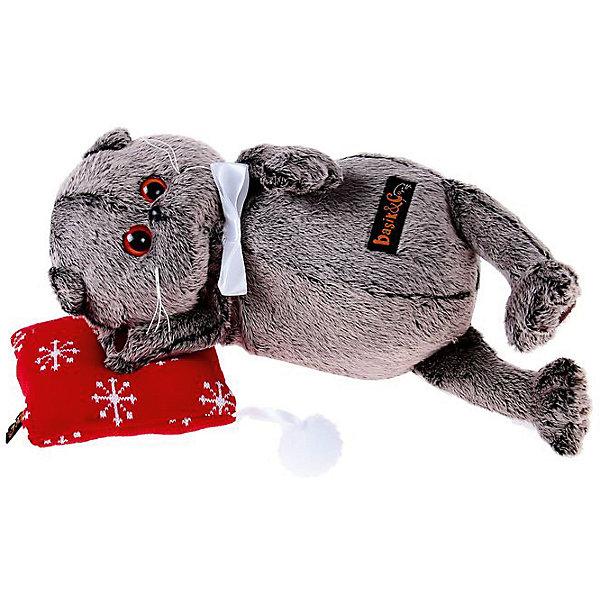 Мягкая игрушка Budi Basa Кот Басик на подушке, 26 см (в ассортименте)Мягкие игрушки-кошки<br>Характеристики товара:<br><br>• возраст: от 3 лет;<br>• материал: текстиль, искусственный мех;<br>• в комплекте: игрушка, подушка;<br>• высота игрушки: 26 см;<br>• размер упаковки: 27х16х14 см;<br>• вес упаковки: 480 гр.;<br>• страна производитель: Россия.<br><br>Мягкая игрушка «Басик на подушке» Budi Basa - очаровательный пушистый котенок с добрыми глазками. Басик отдыхает на мягкой подушечке. На самом котике белая атласная бабочка. Игрушка выполнена из качественного безопасного материала, настолько приятного и мягкого, что ребенок будет брать с собой котенка в кроватку и спать в обнимку.<br><br>Мягкую игрушку «Басик на подушке» Budi Basa можно приобрести в нашем интернет-магазине.<br><br>Ширина мм: 27<br>Глубина мм: 16<br>Высота мм: 14<br>Вес г: 480<br>Возраст от месяцев: 36<br>Возраст до месяцев: 84<br>Пол: Женский<br>Возраст: Детский<br>SKU: 7143356