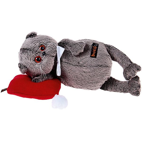 Мягкая игрушка Budi Basa Кот Басик в бабочке на красной подушке, 26 смМягкие игрушки животные<br>Характеристики товара:<br><br>• возраст: от 3 лет;<br>• материал: текстиль, искусственный мех;<br>• в комплекте: игрушка, подушка;<br>• высота игрушки: 26 см;<br>• размер упаковки: 27х16х14 см;<br>• вес упаковки: 480 гр.;<br>• страна производитель: Россия.<br><br>Мягкая игрушка «Басик на красной подушке» Budi Basa - очаровательный пушистый котенок с добрыми глазками. Басик отдыхает на мягкой подушечке. На самом котике белая атласная бабочка. Игрушка выполнена из качественного безопасного материала, настолько приятного и мягкого, что ребенок будет брать с собой котенка в кроватку и спать в обнимку.<br><br>Мягкую игрушку «Басик на красной подушке» Budi Basa можно приобрести в нашем интернет-магазине.<br><br>Ширина мм: 27<br>Глубина мм: 16<br>Высота мм: 14<br>Вес г: 480<br>Возраст от месяцев: 36<br>Возраст до месяцев: 84<br>Пол: Женский<br>Возраст: Детский<br>SKU: 7143357