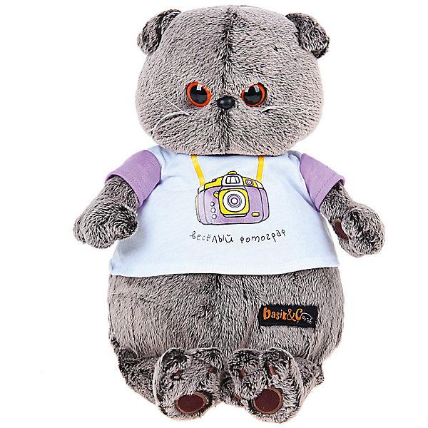 Мягкая игрушка Budi Basa Кот Басик в футболке с принтом Веселый фотограф, 30 см