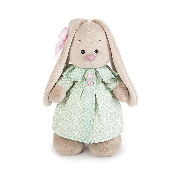 Мягкая игрушка Budi Basa Зайка Ми в бирюзовом пальто, 32 смМягкие игрушки зайцы и кролики<br>Характеристики товара:<br><br>• возраст: от 3 лет;<br>• материал: текстиль, искусственный мех;<br>• высота игрушки: 32 см;<br>• размер упаковки: 34х20х17 см;<br>• вес упаковки: 666 гр.;<br>• страна производитель: Россия.<br><br>Мягкая игрушка «Зайка Ми в бирюзовом пальто» Budi Basa — очаровательный пушистый зайчонок с длинными ушками. Зайка Ми одета в нежное бирюзовое пальто с розовыми пуговицами. Ушко украшает атласный бант. Игрушка выполнена из качественного безопасного материала, настолько приятного и мягкого, что ребенок будет брать с собой зайку в кроватку и спать в обнимку.<br><br>Мягкую игрушку «Зайка Ми в бирюзовом пальто» Budi Basa можно приобрести в нашем интернет-магазине.<br><br>Ширина мм: 34<br>Глубина мм: 20<br>Высота мм: 17<br>Вес г: 666<br>Возраст от месяцев: 36<br>Возраст до месяцев: 84<br>Пол: Женский<br>Возраст: Детский<br>SKU: 7143428