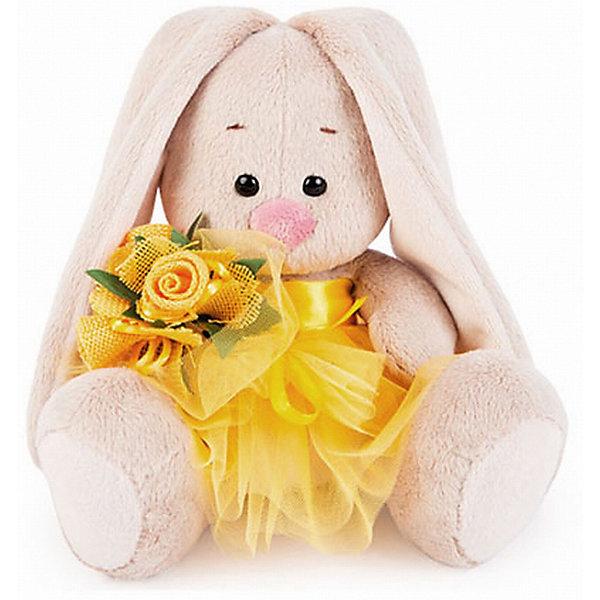 Мягкая игрушка Budi Basa Зайка Ми в желтой юбочке и с букетом, 15 смМягкие игрушки зайцы и кролики<br>Характеристики товара:<br><br>• возраст: от 3 лет;<br>• материал: текстиль, искусственный мех;<br>• высота игрушки: 15 см;<br>• размер упаковки: 14х14х13 см;<br>• вес упаковки: 250 гр.;<br>• страна производитель: Россия.<br><br>Мягкая игрушка «Зайка Ми в желтой юбочке и с букетом» Budi Basa — очаровательный пушистый зайчонок с длинными ушками. Зайка Ми одета в пышную сетчатую юбочку, а в лапках она держит букет цветов. Игрушка выполнена из качественного безопасного материала, настолько приятного и мягкого, что ребенок будет брать с собой зайку в кроватку и спать в обнимку.<br><br>Мягкую игрушку «Зайка Ми в желтой юбочке и с букетом» Budi Basa можно приобрести в нашем интернет-магазине.<br>Ширина мм: 14; Глубина мм: 14; Высота мм: 13; Вес г: 250; Возраст от месяцев: 36; Возраст до месяцев: 84; Пол: Женский; Возраст: Детский; SKU: 7143431;