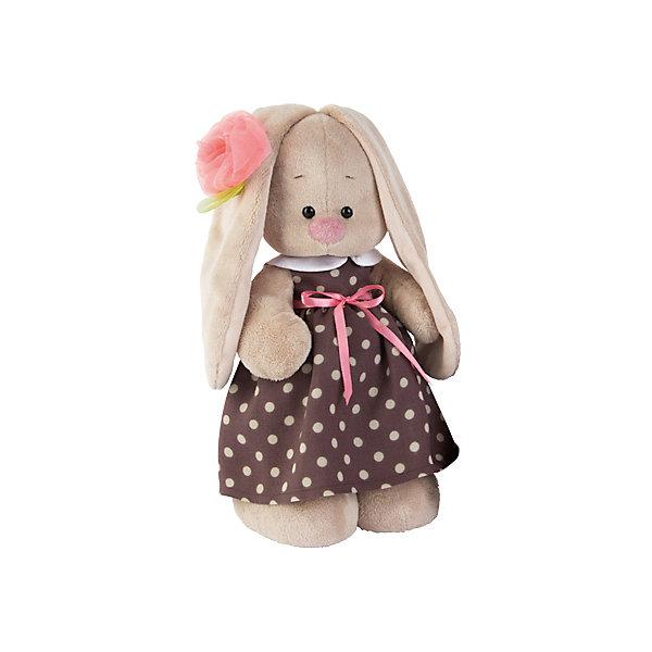 Мягкая игрушка Budi Basa Зайка Ми в кофейном платье и цветком на ушке, 25 смМягкие игрушки зайцы и кролики<br>Характеристики товара:<br><br>• возраст: от 3 лет;<br>• материал: текстиль, искусственный мех;<br>• высота игрушки: 25 см;<br>• размер упаковки: 31х17х13 см;<br>• вес упаковки: 483 гр.;<br>• страна производитель: Россия.<br><br>Мягкая игрушка «Зайка Ми в кофейном платье и цветком на ушке» Budi Basa — очаровательный пушистый зайчонок с длинными ушками. Зайка Ми одета в нежное платье в горошек, а на ушке у нее украшение цветочек. Игрушка выполнена из качественного безопасного материала, настолько приятного и мягкого, что ребенок будет брать с собой зайку в кроватку и спать в обнимку.<br><br>Мягкую игрушку «Зайка Ми в кофейном платье и цветком на ушке» Budi Basa можно приобрести в нашем интернет-магазине.<br><br>Ширина мм: 31<br>Глубина мм: 17<br>Высота мм: 13<br>Вес г: 483<br>Возраст от месяцев: 36<br>Возраст до месяцев: 84<br>Пол: Женский<br>Возраст: Детский<br>SKU: 7143452