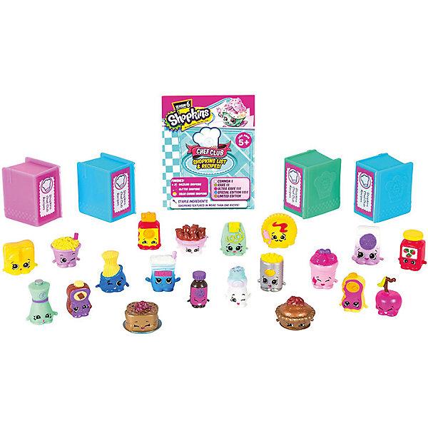 Набор мини-фигурок Moose Shopkins Chef Club 6 сезон, 20 штукИгровые наборы с фигурками<br>Характеристики товара:<br><br>• возраст: от 5 лет;<br>• количество фигурок:  20 шт;<br>• размер фигурки: 2,5 см.;<br>• материал: пластик;<br>• упаковка: картонная коробка;<br>• размер упаковки: 44х83х6,2 см.;<br>• вес: 350 гр.;<br>• наименование бренда, страна бренда: Moose (Мус), Австралия;<br>• страна изготовитель: Китай.<br><br>Мега набор «Shopkins» - это большой игровой набор из 20-ти ярких фигурок очаровательных персонажей-вкусняшек из серии «Кулинарный клуб» популярной линии детских игрушек от знаменитого бренда Moose. В комлект также входят 4 кулинарные книги и буклет коллекционера, что несомненно порадует вашего ребенка. <br><br>Из маленьких пластиковых фигурок можно собирать большую коллекцию и придумывать различные интересные сюжеты для игры с ними. Персонажи из серии  «Кулинарный клуб» могут оживать на экранах ваших смартфонов, необходимо лишь скачать бесплатное приложение Shopkins: Chef Club и просканировать QR-код фигурки.<br><br>Фигурки «Shopkins» изготовлены из высококачественных материалов, безопасных для детского здоровья. <br><br>Игры с фигурками прекрасно развивают мелкую моторику рук, внимательность, образное мышление, познавательный интерес, обогащают словарный запас.<br><br>Мега набор «Shopkins», 20 шт.,  Moose (Мус) можно купить в нашем интернет-магазине.<br><br>Ширина мм: 440<br>Глубина мм: 62<br>Высота мм: 83<br>Вес г: 350<br>Возраст от месяцев: 60<br>Возраст до месяцев: 2147483647<br>Пол: Женский<br>Возраст: Детский<br>SKU: 7143845