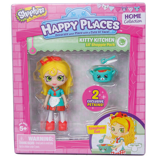 Мини-кукла Moose Shopkins Счастливые места Спагетти Сью и фигурки Петкинс, 13 смПопулярные игрушки<br>Характеристики товара:<br><br>• возраст: от 5 лет;<br>• высота куклы:  13 см;<br>• материал: пластик;<br>• упаковка: картонная коробка;<br>• размер упаковки: 14х16х4 см.;<br>• вес: 110 гр.;<br>• наименование бренда, страна бренда: Moose (Мус), Австралия;<br>• страна изготовитель: Китай.<br><br>Игровой набор с куклой Shoppie «Спагетти Сью» - набор Happy Places от компании Moose включает в себя очаровательную куколку и 2 эксклюзивные фигурки Petkins.<br><br>Куколка-блондинка по имени Спагетти Сью очень любит готовить пасту и с удовольствием накормит ей всех своих друзей.В приготовлении этого итальянского блюда ей помогут аксессуары Петкинс: кастрюля и ложка, которые также входят в набор.<br> <br>Все эти аксессуары позволят девочкам организовать веселую и увлекательную тематическую игру. Они изготовлены из высококачественных материалов, безопасных для детского здоровья. <br><br>Игры с куклами прекрасно развивают мелкую моторику рук, внимательность, образное мышление, познавательный интерес, обогащают словарный запас.<br><br>Игровой набор с куклой Shoppie «Спагетти Сью», 13 см., Moose (Мус) можно купить в нашем интернет-магазине.<br><br>Ширина мм: 140<br>Глубина мм: 40<br>Высота мм: 160<br>Вес г: 110<br>Возраст от месяцев: 60<br>Возраст до месяцев: 2147483647<br>Пол: Женский<br>Возраст: Детский<br>SKU: 7143861