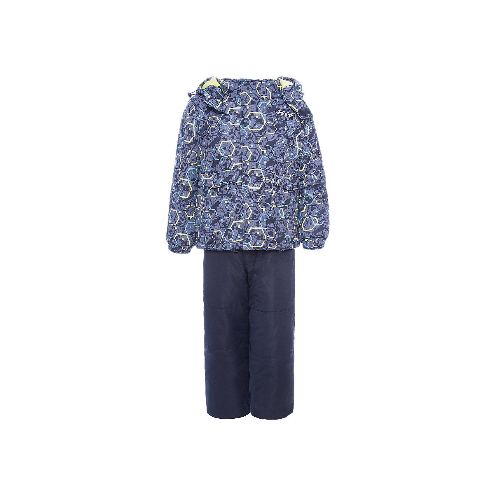 Комплект: куртка и брюки Ma-Zi-Ma для мальчикаВерхняя одежда<br>Характеристики товара:<br><br>• цвет: серый<br>• комплектация: куртка и брюки<br>• состав ткани: Taslan с водонепроницаемой пропиткой<br>• подкладка: поларфлис <br>• утеплитель: полиэстер<br>• сезон: зима<br>• температурный режим: от -30 до +5<br>• водонепроницаемость: 1000 мм <br>• паропроницаемость: 1000 г/м2<br>• плотность утеплителя: куртка - 280 г/м2, брюки - 200 г/м2<br>• капюшон: съемный, без меха<br>• застежка: молния<br>• брюки усилены износостойкими вставками<br>• страна бренда: Россия<br>• страна изготовитель: Китай<br><br>Детский комплект для зимы состоит из куртки с капюшоном и брюк с износостойкими накладками. Зимний комплект для мальчика стильно смотрится и удобно сидит. Верх детской зимней куртки и брюк не промокает и не продувается. Мягкая подкладка детского комплекта для зимы приятна на ощупь. <br><br>Комплект: куртка и брюки Ma-Zi-Ma (Ма-Зи-Ма) для мальчика можно купить в нашем интернет-магазине.<br><br>Ширина мм: 356<br>Глубина мм: 10<br>Высота мм: 245<br>Вес г: 519<br>Цвет: серый<br>Возраст от месяцев: 132<br>Возраст до месяцев: 144<br>Пол: Мужской<br>Возраст: Детский<br>Размер: 152,92,98,104,110,116,122,128,134,140,146<br>SKU: 7144396