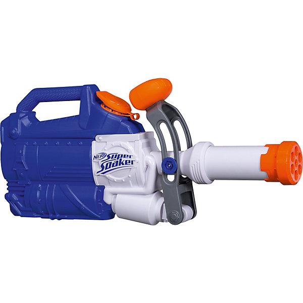 Бластер Nerf Super Soaker SoakzookaИгрушечные пистолеты и бластеры<br>Характеристики товара:<br><br>• возраст: от 7 лет;<br>• материал: пластик;<br>• в комплекте: бластер;<br>• размер упаковки: 52х21,5х7 см;<br>• вес упаковки: 800 гр.<br><br>Бластер Nerf Super Soaker Soakzooka — водный бластер для активных игр летом на свежем воздухе. Бластер оснащен удобной рукояткой и резервуаром для воды, вмещающим 1,6 литра. Для того, чтобы выпустить струю воды, нужно лишь нажать на специальный рычажок. Выполнен бластер из качественного пластика.<br><br>Бластер Nerf Super Soaker Soakzooka можно приобрести в нашем интернет-магазине.<br>Ширина мм: 516; Глубина мм: 68; Высота мм: 230; Вес г: 840; Возраст от месяцев: 84; Возраст до месяцев: 144; Пол: Мужской; Возраст: Детский; SKU: 7146115;