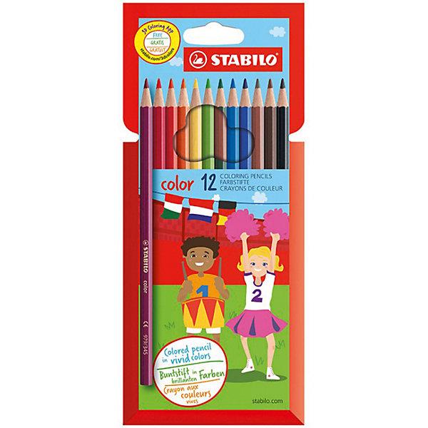 STABILO Набор цветных карандашей 12цв (10+2ФЛУО)Школьные аксессуары<br>Набор цветных карандашей 10+2 цв. от марки Stabilo<br><br>Эти карандаши созданы немецкой компанией для комфортного и легкого рисования. Легко затачиваются, при этом грифель очень устойчив к поломкам. Цвета яркие, линия мягкая и однородная. Будут долго держаться на бумаге и не выцветать. Рисование помогает детям развивать усидчивость, воображение, образное восприятие мира, а также мелкую моторику рук.  <br>Грифель - из высококачественного материала. В наборе - 12 карандашей разных цветов (10 основных цветов и 2 флуоресцентных). Они отлично лежат в руке благодаря удобной форме и качественному покрытию.<br><br>Особенности данной модели:<br><br>комплектация: 12 шт.<br><br>Набор цветных карандашей 10+2 цв. от марки Stabilo можно купить в нашем магазине.<br>Ширина мм: 100; Глубина мм: 202; Высота мм: 10; Вес г: 180; Возраст от месяцев: 36; Возраст до месяцев: 216; Пол: Унисекс; Возраст: Детский; SKU: 7167103;