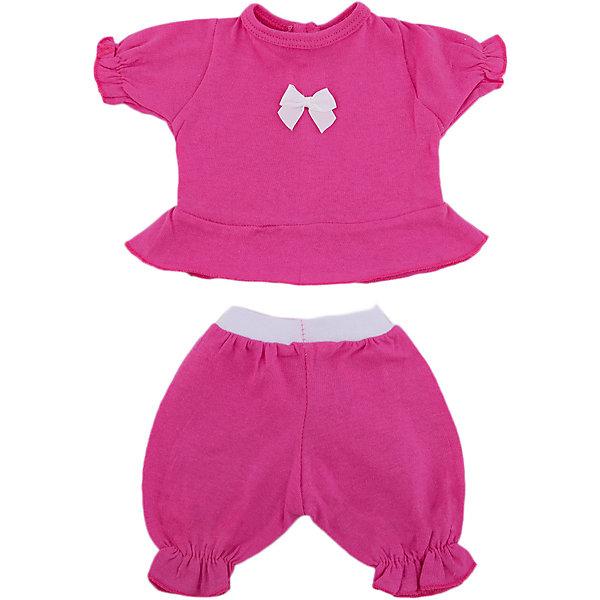 Одежда для куклы Карапуз Кофточка, бриджи, 40-42 смОдежда для кукол<br>Характеристики:<br><br>• возраст: от 3 лет<br>• в наборе: кофточка, бриджи<br>• материал: трикотаж<br>• высота куклы: 40-42 см.<br><br>Комплект одежды подойдёт для куклы торговой марки «Карапуз» высотой 40 - 42 сантиметра и сделает сюжетно-ролевые игры малышки более веселыми и разнообразными.<br><br>Наряд представлен кофточкой с длинными рукавами и бриджами, сшитыми из трикотажного текстиля приятного розового цвета. Рукава кофточки и бриджей слегка собраны, края отстрочены жёлтой нитью. На грудь кофточки нанесена аппликация с изображением мальчика и девочки.<br><br>Комплект изготовлен из гипоаллергенного и нетоксичного материала с предусмотренной сертификацией качества для производства детских товаров. При необходимости одежду можно постирать в стиральной машине в режиме деликатной стирки.<br><br>Комплект одежды для куклы Карапуз 40-42 см, кофточка и бриджи (трикотаж) можно купить в нашем интернет-магазине.<br>Ширина мм: 280; Глубина мм: 30; Высота мм: 370; Вес г: 50; Возраст от месяцев: 36; Возраст до месяцев: 84; Пол: Женский; Возраст: Детский; SKU: 7168154;