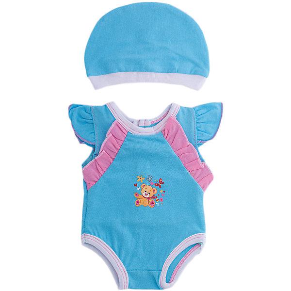 Одежда для куклы Карапуз Боди, 40-42 см (голубое)Одежда для кукол<br>Характеристики:<br><br>• возраст: от 3 лет<br>• в наборе: боди, пластиковая вешалка<br>• материал: текстиль<br>• высота куклы: 40-42 см.<br><br>Комплект одежды отлично подойдёт для куклы торговой марки «Карапуз» высотой 40 - 42 сантиметра и сделает сюжетно-ролевые игры малышки более веселыми и разнообразными.<br><br>Наряд представлен голубым боди с розовыми рюшами. На груди боди украшено аппликацией в виде маленьких щеночка и котёнка на фоне цветочков. Для аккуратного хранения одежды в комплекте предусмотрена пластиковая вешалка.<br><br>Комплект одежды изготовлен из приятного на ощупь качественного материала.<br><br>Одежду для куклы Карапуз 40-42см, боди можно купить в нашем интернет-магазине.<br><br>Ширина мм: 280<br>Глубина мм: 30<br>Высота мм: 370<br>Вес г: 50<br>Возраст от месяцев: 36<br>Возраст до месяцев: 84<br>Пол: Женский<br>Возраст: Детский<br>SKU: 7168156
