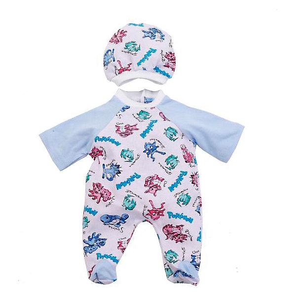 Одежда для куклы Карапуз Комбинезон с шапочкой, 40-42 смОдежда для кукол<br>Характеристики:<br><br>• возраст: от 3 лет<br>• в наборе: комбинезон, шапочка<br>• материал: текстиль<br>• высота куклы: 40-42 см.<br><br>Комплект одежды отлично подойдёт для куклы торговой марки «Карапуз» высотой 40 - 42 сантиметра и сделает сюжетно-ролевые игры малышки более веселыми и разнообразными.<br><br>Наряд представлен комбинезоном и шапочкой, украшенные принтом с покемономи. У комбинезона длинные однотонные рукава и закрытые ножки. У шапочки белая резинка, благодаря чему она будет плотно сидеть на голове куклы.<br><br>Комплект изготовлен из приятного на ощупь качественного материала, все швы аккуратно обработаны.<br><br>Комплект одежды для куклы Карапуз 40-42см, комбинезон с шапочкой можно купить в нашем интернет-магазине.<br>Ширина мм: 280; Глубина мм: 3; Высота мм: 185; Вес г: 20; Возраст от месяцев: 36; Возраст до месяцев: 84; Пол: Женский; Возраст: Детский; SKU: 7168159;