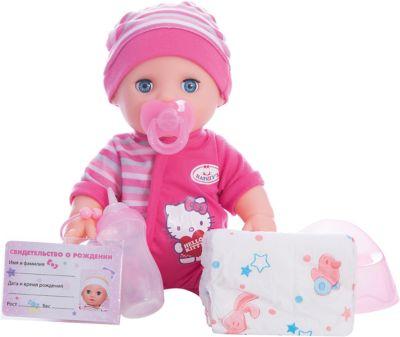 КАРАПУЗ Интерактивная кукла-пупс Карапуз Hello Kitty , 30 см (3 функции, пьет, писает, закрывает глазки