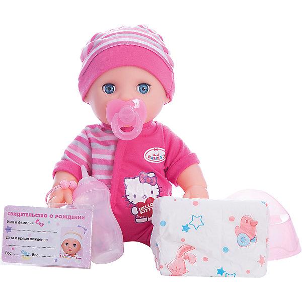 Интерактивная кукла-пупс Карапуз Hello Kitty, 30 см (3 функции, пьет, писает, закрывает глазкиКуклы<br>Характеристики:<br><br>• возраст: от 3 лет<br>• в комплекте: пупс, бутылочка, памперс, горшок, соска, свидетельство рождении<br>• материал: пластик, текстиль<br>• высота куклы: 30 см.<br><br>Пупс «Хелло Китти» от производителя «Карапуз» выглядит очень мило. Большие глаза, круглые щеки и пухлые ручки придают ему сходства с настоящим малышом. На пупсе надет нарядный костюмчик и шапочка. Костюмчик украшен изображением котенка из популярного мультфильма «Хелло Китти». Ручки и ножки пупса можно двигать, что позволяет придавать ему различные позы во время игры.<br><br>Игрушечный малыш умеет пить из бутылочки, писать в свой розовый горшочек, а также закрывать и открывать глазки.<br><br>Игрушка изготовлена из высококачественных материалов, не содержащих в своем составе вредных или опасных для здоровья ребенка веществ.<br><br>Пупс Hello Kitty 30см, 3 функции, пьет и писает, закрывает глазки можно купить в нашем интернет-магазине.<br><br>Ширина мм: 290<br>Глубина мм: 150<br>Высота мм: 270<br>Вес г: 790<br>Возраст от месяцев: 36<br>Возраст до месяцев: 84<br>Пол: Женский<br>Возраст: Детский<br>SKU: 7168162
