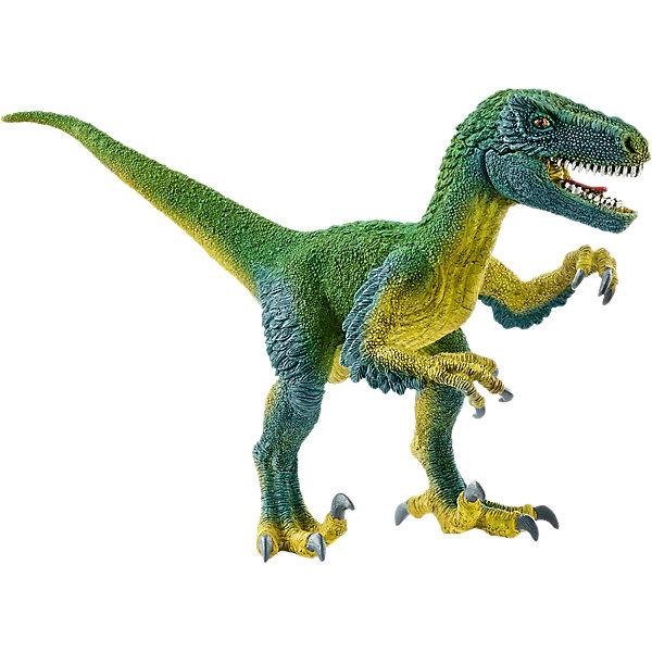 Коллекционная фигурка Schleich Динозавры ВелоцирапторМир животных<br>Характеристики:<br><br>• возраст: от 3 лет;<br>• материал: каучуковый пластик;<br>• размер игрушки: 6,4х18х10,4 см;<br>• вес упаковки: 450 гр.;<br>• размер упаковки: 6,4х18х10,4 см;<br>• страна бренда: Германия.<br><br>Фигурка от бренда Schleich – детализированная копия вымершего велоцираптора. Фигурка с точностью передает особенности строения тела животного, внешний вид кожи, характерную позу. Нижняя челюсть подвижна.<br><br>В изготовлении каждой фигурки «Шляйх» учитываются рекомендации педагогики для того, чтобы игрушка была интересна и полезна ребенку, комфортно располагалась в руках. Фигурка раскрашена вручную, сделана из прочных безопасных материалов, не вызывающих аллергию. Разработано при участии музея зоологии.<br><br>Фигурка подойдет для сюжетно-ролевых игр, а также может стать частью большой коллекции реалистичных копий животных Schleich.<br><br>Фигурку Schleich Велоцираптор можно купить в нашем интернет-магазине.<br>Ширина мм: 187; Глубина мм: 106; Высота мм: 63; Вес г: 60; Возраст от месяцев: 60; Возраст до месяцев: 144; Пол: Мужской; Возраст: Детский; SKU: 7168236;