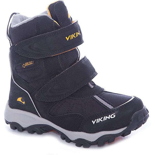 Ботинки Bluster II GTX Viking для мальчикаБотинки<br>Характеристики товара:<br><br>• цвет: черный<br>• внешний материал: искусственная кожа, текстиль<br>• внутренний материал: полиэстер<br>• стелька: полиэстер<br>• подошва: EVA, натуральная резина<br>• сезон: зима<br>• мембранные <br>• температурный режим: от -25 до +5<br>• особенности модели: спортивный стиль<br>• застежка: липучки<br>• защита мыса <br>• подошва не скользит<br>• анатомические<br>• высокие<br>• страна бренда: Норвегия<br>• страна изготовитель: Вьетнам<br><br>Практичные мембранные ботинки для детей обеспечат комфорт ногам даже в сильный мороз. Модные ботинки от бренда Viking легко надеваются благодаря удобной застежке. Детские ботинки обеспечивают ногам тепло вследствие наличия мембраны. Эти ботинки Viking не скользят из-за особого дизайна подошвы.<br><br>Ботинки Bluster II GTX Viking (Викинг) для мальчика можно купить в нашем интернет-магазине.<br><br>Ширина мм: 262<br>Глубина мм: 176<br>Высота мм: 97<br>Вес г: 427<br>Цвет: черный<br>Возраст от месяцев: 48<br>Возраст до месяцев: 60<br>Пол: Мужской<br>Возраст: Детский<br>Размер: 28,41,40,39,38,37,36,35,34,33,32,31,30,29<br>SKU: 7168895
