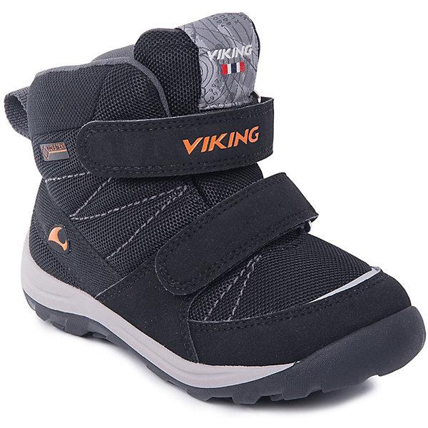 Ботинки Rissa GTX Viking для мальчикаБотинки<br>Характеристики товара:<br><br>• цвет: черный<br>• внешний материал: текстиль<br>• внутренний материал: полиэстер<br>• стелька: полиэстер<br>• подошва: натуральная резина<br>• сезон: зима<br>• мембранные <br>• температурный режим: от -25 до +5<br>• особенности модели: спортивный стиль<br>• застежка: липучки<br>• защита мыса <br>• подошва не скользит<br>• анатомические<br>• высокие<br>• страна бренда: Норвегия<br>• страна изготовитель: Вьетнам<br><br>Оригинальные детские ботинки обеспечивают ногам тепло вследствие наличия мембраны. Стильные мембранные ботинки для детей обеспечат комфорт ногам даже в сильный мороз. Модные ботинки от бренда Viking легко надеваются благодаря удобной застежке. Эти ботинки Viking не скользят из-за особого дизайна подошвы.<br><br>Ботинки Rissa GTX Viking (Викинг) для мальчика можно купить в нашем интернет-магазине.<br>Ширина мм: 262; Глубина мм: 176; Высота мм: 97; Вес г: 427; Цвет: черный; Возраст от месяцев: 15; Возраст до месяцев: 18; Пол: Мужской; Возраст: Детский; Размер: 22,30,29,28,27,26,25,24,23; SKU: 7169109;