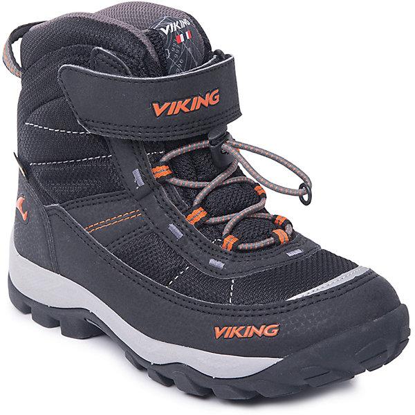 Ботинки Sludd EL/VEL GTX Viking для мальчикаБотинки<br>Характеристики товара:<br><br>• цвет: черный<br>• внешний материал: текстиль, экозамша<br>• внутренний материал: полиэстер<br>• стелька: полиэстер<br>• подошва: натуральная резина, EVA<br>• сезон: зима<br>• мембранные <br>• температурный режим: от -25 до +5<br>• особенности модели: спортивный стиль<br>• застежка: шнурки, липучка<br>• защита мыса <br>• подошва не скользит<br>• анатомические<br>• высокие<br>• страна бренда: Норвегия<br>• страна изготовитель: Вьетнам<br><br>Такие мембранные ботинки Viking сделаны по новейшей технологии, обеспечивающей их высокое качество и износостойкость. Мембранные ботинки для детей помогут обеспечить ногам тепло и сухость в холода. Эти детские ботинки от Viking обработаны специальным составом, предотвращающим попадание влаги и грязи внутрь. Детские ботинки отличаются легкими материалами.<br><br>Ботинки Sludd EL/VEL GTX Viking (Викинг) для мальчика можно купить в нашем интернет-магазине.<br>Ширина мм: 262; Глубина мм: 176; Высота мм: 97; Вес г: 427; Цвет: черный; Возраст от месяцев: 60; Возраст до месяцев: 72; Пол: Мужской; Возраст: Детский; Размер: 29,31,32,33,34,35,36,37,38,30; SKU: 7169129;