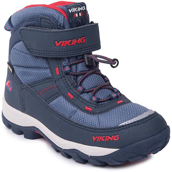 Ботинки Sludd EL/VEL GTX Viking для мальчикаБотинки<br>Характеристики товара:<br><br>• цвет: синий<br>• внешний материал: текстиль, экозамша<br>• внутренний материал: полиэстер<br>• стелька: полиэстер<br>• подошва: натуральная резина, EVA<br>• сезон: зима<br>• мембранные <br>• температурный режим: от -25 до +5<br>• особенности модели: спортивный стиль<br>• застежка: шнурки, липучка<br>• защита мыса <br>• подошва не скользит<br>• анатомические<br>• высокие<br>• страна бренда: Норвегия<br>• страна изготовитель: Вьетнам<br><br>Зимние ботинки от бренда Viking легко надеваются благодаря удобной застежке. Оригинальные детские ботинки обеспечивают ногам тепло вследствие наличия мембраны. Стильные мембранные ботинки для детей обеспечат комфорт ногам даже в сильный мороз. Эти ботинки Viking не скользят из-за особого дизайна подошвы.<br><br>Ботинки Sludd EL/VEL GTX Viking (Викинг) для мальчика можно купить в нашем интернет-магазине.<br><br>Ширина мм: 262<br>Глубина мм: 176<br>Высота мм: 97<br>Вес г: 427<br>Цвет: синий<br>Возраст от месяцев: 108<br>Возраст до месяцев: 120<br>Пол: Мужской<br>Возраст: Детский<br>Размер: 33,29,32,31,30,38,37,36,35,34<br>SKU: 7169140