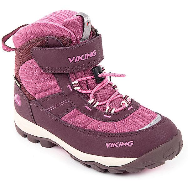 Ботинки Sludd EL/VEL GTX Viking для девочкиБотинки<br>Характеристики товара:<br><br>• цвет: фуксия<br>• внешний материал: текстиль, экозамша<br>• внутренний материал: полиэстер<br>• стелька: полиэстер<br>• подошва: натуральная резина, EVA<br>• сезон: зима<br>• мембранные <br>• температурный режим: от -25 до +5<br>• особенности модели: спортивный стиль<br>• застежка: шнурки, липучка<br>• защита мыса <br>• подошва не скользит<br>• анатомические<br>• высокие<br>• страна бренда: Норвегия<br>• страна изготовитель: Вьетнам<br><br>Яркие ботинки Viking для ребенка - со специальной обработкой, повышающей их срок службы. Утепленные зимние детские ботинки от бренда Viking снабжены удобной застежкой. Мембрана Gore Tex в этих ботинках для детей позволяет ногам дышать, но не пропускает внутрь воду и холод. Детские ботинки легкие и амортизирующие. <br><br>Ботинки Sludd EL/VEL GTX Viking (Викинг) для девочки можно купить в нашем интернет-магазине.<br>Ширина мм: 262; Глубина мм: 176; Высота мм: 97; Вес г: 427; Цвет: лиловый; Возраст от месяцев: 72; Возраст до месяцев: 84; Пол: Женский; Возраст: Детский; Размер: 30,40,39,38,37,36,35,34,33,32,31; SKU: 7169151;