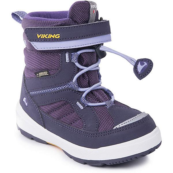 Ботинки Playtime GTX Viking для девочкиБотинки<br>Характеристики товара:<br><br>• цвет: фиолетовый<br>• внешний материал: текстиль<br>• внутренний материал: полиэстер<br>• стелька: полиэстер<br>• подошва: натуральная резина<br>• сезон: зима<br>• мембранные <br>• температурный режим: от -25 до +5<br>• особенности модели: спортивный стиль<br>• застежка: шнурки, липучка<br>• защита мыса <br>• подошва не скользит<br>• анатомические<br>• высокие<br>• страна бренда: Норвегия<br>• страна изготовитель: Вьетнам<br><br>Мембранные зимние ботинки от бренда Viking легко надеваются благодаря удобной застежке. Оригинальные детские ботинки обеспечивают ногам тепло вследствие наличия мембраны. Стильные мембранные ботинки для детей обеспечат комфорт ногам даже в сильный мороз. Эти ботинки Viking не скользят из-за особого дизайна подошвы.<br><br>Ботинки Playtime GTX Viking (Викинг) для девочки можно купить в нашем интернет-магазине.<br><br>Ширина мм: 262<br>Глубина мм: 176<br>Высота мм: 97<br>Вес г: 427<br>Цвет: лиловый<br>Возраст от месяцев: 18<br>Возраст до месяцев: 21<br>Пол: Женский<br>Возраст: Детский<br>Размер: 23,30,29,28,27,26,25,24<br>SKU: 7169172