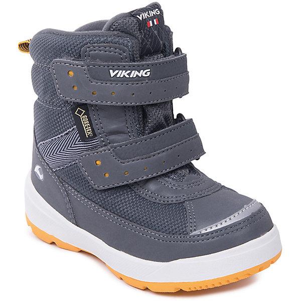Ботинки Play II GTX Viking для мальчикаБотинки<br>Характеристики товара:<br><br>• цвет: серый<br>• внешний материал: текстиль<br>• внутренний материал: полиэстер<br>• стелька: полиэстер<br>• подошва: натуральная резина<br>• сезон: зима<br>• мембранные <br>• температурный режим: от -25 до +5<br>• особенности модели: спортивный стиль<br>• застежка: липучки<br>• защита мыса <br>• подошва не скользит<br>• анатомические<br>• высокие<br>• страна бренда: Норвегия<br>• страна изготовитель: Вьетнам<br><br>Комфортные ботинки Viking для ребенка - со специальной обработкой, повышающей их срок службы. Утепленные зимние детские ботинки от бренда Viking снабжены удобной застежкой. Мембрана Gore Tex в этих ботинках для детей позволяет ногам дышать, но не пропускает внутрь воду и холод. Детские ботинки легкие и амортизирующие. <br><br>Ботинки Play II GTX Viking (Викинг) для девочки можно купить в нашем интернет-магазине.<br><br>Ширина мм: 262<br>Глубина мм: 176<br>Высота мм: 97<br>Вес г: 427<br>Цвет: серый<br>Возраст от месяцев: 18<br>Возраст до месяцев: 21<br>Пол: Мужской<br>Возраст: Детский<br>Размер: 23,25,24,30,29,28,27,26<br>SKU: 7169211