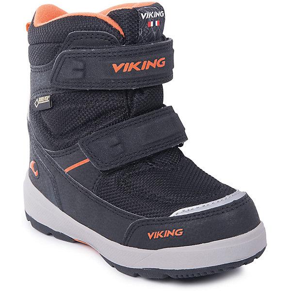 Ботинки Skavl II GTX Viking для мальчикаБотинки<br>Характеристики товара:<br><br>• цвет: черный<br>• внешний материал: текстиль<br>• внутренний материал: полиэстер<br>• стелька: полиэстер<br>• подошва: натуральная резина<br>• сезон: зима<br>• мембранные <br>• температурный режим: от -25 до +5<br>• особенности модели: спортивный стиль<br>• застежка: липучки<br>• защита мыса <br>• подошва не скользит<br>• анатомические<br>• высокие<br>• страна бренда: Норвегия<br>• страна изготовитель: Вьетнам<br><br>Черные детские ботинки обеспечивают ногам тепло вследствие наличия мембраны. Мембранные зимние ботинки от бренда Viking легко надеваются благодаря удобной застежке. Стильные мембранные ботинки для детей обеспечат комфорт ногам даже в сильный мороз. Эти ботинки Viking не скользят из-за особого дизайна подошвы.<br><br>Ботинки Skavl II GTX Viking (Викинг) для мальчика можно купить в нашем интернет-магазине.<br><br>Ширина мм: 262<br>Глубина мм: 176<br>Высота мм: 97<br>Вес г: 427<br>Цвет: черный<br>Возраст от месяцев: 15<br>Возраст до месяцев: 18<br>Пол: Мужской<br>Возраст: Детский<br>Размер: 22,30,29,28,27,26,25,24,23<br>SKU: 7169230