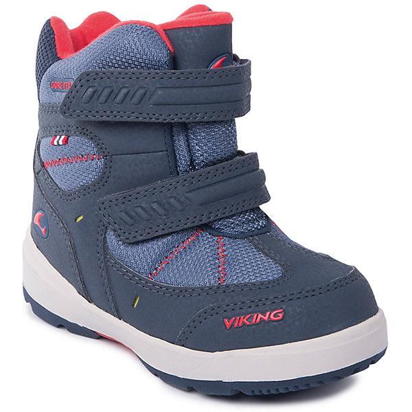 Ботинки Toasty II GTX Viking для мальчикаБотинки<br>Характеристики товара:<br><br>• цвет: синий<br>• внешний материал: текстиль<br>• внутренний материал: полиэстер<br>• стелька: полиэстер<br>• подошва: натуральная резина<br>• сезон: зима<br>• мембранные <br>• температурный режим: от -25 до +5<br>• особенности модели: спортивный стиль<br>• застежка: липучки<br>• защита мыса <br>• подошва не скользит<br>• анатомические<br>• высокие<br>• страна бренда: Норвегия<br>• страна изготовитель: Вьетнам<br><br>Синие детские ботинки обеспечивают ногам тепло вследствие наличия мембраны. Мембранные зимние ботинки от бренда Viking легко надеваются благодаря удобной застежке. Стильные мембранные ботинки для детей обеспечат комфорт ногам даже в сильный мороз. Эти ботинки Viking не скользят из-за особого дизайна подошвы.<br><br>Ботинки Toasty II GTX Viking (Викинг) для мальчика можно купить в нашем интернет-магазине.<br>Ширина мм: 262; Глубина мм: 176; Высота мм: 97; Вес г: 427; Цвет: синий; Возраст от месяцев: 9; Возраст до месяцев: 12; Пол: Мужской; Возраст: Детский; Размер: 20,30,29,28,27,26,25,24,23,22,21; SKU: 7169263;