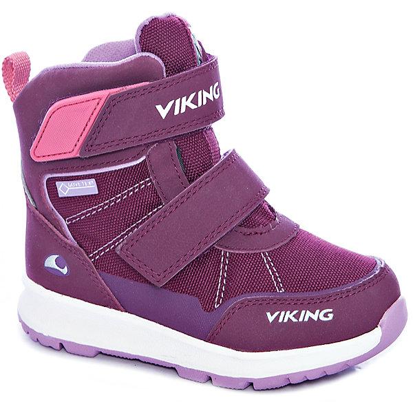 Ботинки Valhest GTX Viking для девочкиБотинки<br>Характеристики товара:<br><br>• цвет: бордовый<br>• внешний материал: текстиль<br>• внутренний материал: полиэстер<br>• стелька: полиэстер<br>• подошва: натуральная резина<br>• сезон: зима<br>• мембранные <br>• температурный режим: от -25 до +5<br>• особенности модели: спортивный стиль<br>• застежка: липучки<br>• защита мыса <br>• подошва не скользит<br>• анатомические<br>• высокие<br>• страна бренда: Норвегия<br>• страна изготовитель: Вьетнам<br><br>Детские ботинки обеспечивают ногам тепло вследствие наличия мембраны. Мембранные зимние ботинки от бренда Viking легко надеваются благодаря удобной застежке. Стильные мембранные ботинки для детей обеспечат комфорт ногам даже в сильный мороз. Эти ботинки Viking не скользят из-за особого дизайна подошвы.<br><br>Ботинки Valhest GTX Viking (Викинг) для девочки можно купить в нашем интернет-магазине.<br>Ширина мм: 262; Глубина мм: 176; Высота мм: 97; Вес г: 427; Цвет: розовый; Возраст от месяцев: 15; Возраст до месяцев: 18; Пол: Женский; Возраст: Детский; Размер: 22,30,29,28,27,26,25,24,23; SKU: 7169296;