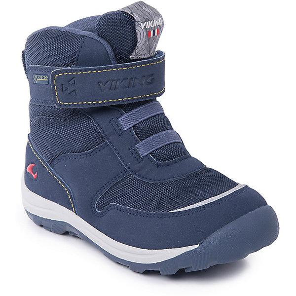 Ботинки Hamar KDs GTX Viking для мальчикаБотинки<br>Характеристики товара:<br><br>• цвет: синий<br>• внешний материал: текстиль<br>• внутренний материал: полиэстер<br>• стелька: полиэстер<br>• подошва: натуральная резина<br>• сезон: зима<br>• мембранные <br>• температурный режим: от -25 до +5<br>• особенности модели: спортивный стиль<br>• застежка: липучки<br>• защита мыса <br>• подошва не скользит<br>• анатомические<br>• высокие<br>• страна бренда: Норвегия<br>• страна изготовитель: Вьетнам<br><br>Теплые детские ботинки обеспечивают ногам тепло вследствие наличия мембраны. Мембранные зимние ботинки от бренда Viking легко надеваются благодаря удобной застежке. Стильные мембранные ботинки для детей обеспечат комфорт ногам даже в сильный мороз. Эти ботинки Viking не скользят из-за особого дизайна подошвы.<br><br>Ботинки Hamar KDs GTX Viking (Викинг) для мальчика можно купить в нашем интернет-магазине.<br><br>Ширина мм: 262<br>Глубина мм: 176<br>Высота мм: 97<br>Вес г: 427<br>Цвет: синий<br>Возраст от месяцев: 72<br>Возраст до месяцев: 84<br>Пол: Мужской<br>Возраст: Детский<br>Размер: 30,27,23,24,25,26,28,29<br>SKU: 7169324