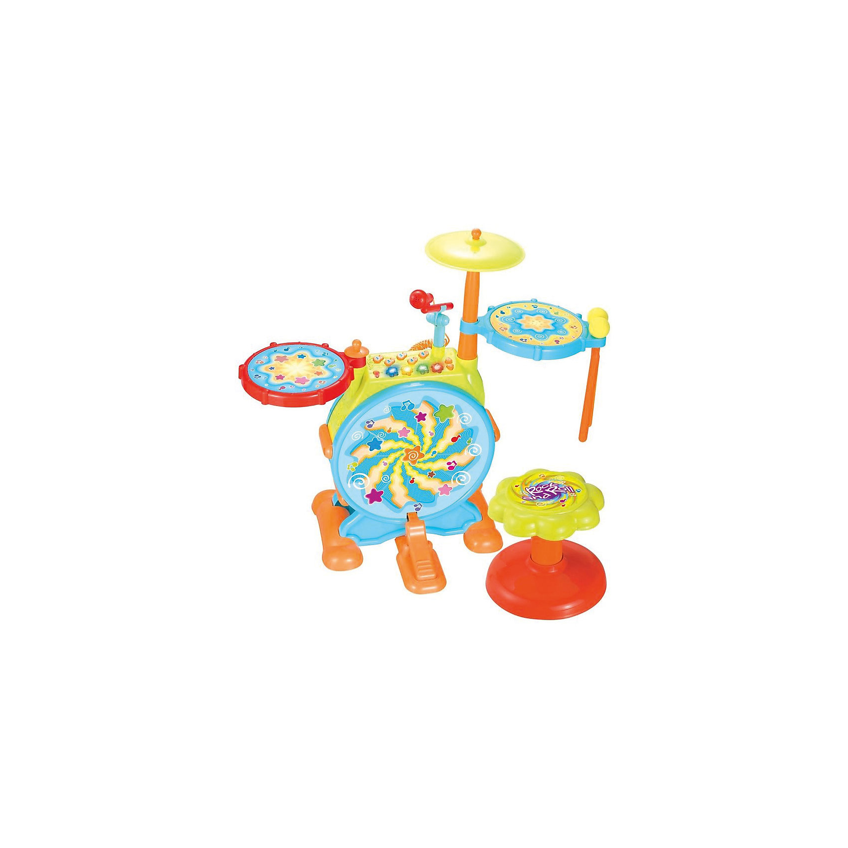 Музыкальный центр с барабанной установкой Huile ToysБарабаны<br>Эта игрушка -  хит продаж и мечта всех юных музыкантов.Воспитывает интерес к музыке и развивает моторику рук и ног.Можно петь в микрофон, можно играть на барабанной установке, можно сочетать.Игрушка имеет в памяти 10 отрывков песен, 5 отрывков веселых мелодий и 3 отрывка динамичной танцевальной музыки.<br>При ударе палочками (с мягкими шарами, в качестве ударной части) по 2-м боковым барабанам и по тарелке - различные звуковые эффекты (забавные звуки). Педаль - звук удара по большому барабану. Пять кнопок (нотки)  с различными мелодиями. Кнопки звёздочки: 1 - одиночный звук удара по барабану, 2- забавный звук, 3 - мелодия, 4- ритмический рисунок.  Регулировка громкости звучания.Питание: 3*АА (нет в комплекте).<br><br>Ширина мм: 430<br>Глубина мм: 120<br>Высота мм: 530<br>Вес г: 3100<br>Возраст от месяцев: 36<br>Возраст до месяцев: 60<br>Пол: Унисекс<br>Возраст: Детский<br>SKU: 7172258
