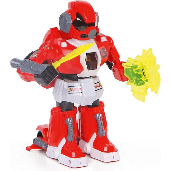 Робот на радиоуправлении Yako Toys, красный (свет, звук, движение)Роботы-игрушки<br>Характеристики товара:<br><br>• возраст: от 3 лет;<br>• цвет: красный;<br>• размер игрушки: 26х25х14 см.;<br>• комплект: 1 робот, 2 пульта управления, аккумулятор, зарядное устройство;<br>• тип батареек для пульта:  9V типа Крона (в комплекте);<br>• тип батареек для робота:  ААх2 (нет в комплекте);<br>• состав: пластмасса, металл;<br>• вес упаковки: 590 гр.;<br>• упаковка: коробка блистерного типа;<br>• бренд, страна: Yako Toys, Китай;<br>• страна-производитель: Китай.<br><br>Робот на радиоуправлении от торговой марки  Yako Toys представляет собой фигурку, выполненную в виде фантастического воина, который поможет ребенку придумать множество увлекательных приключенческих сюжетов. <br><br>Большую реалистичность игре придадут специальные функциональные возможности, встроенные в игрушку. Движениями игрушечного воителя можно управлять с помощью двух пультов. Кроме того, игровой процесс смогут отлично дополнить световые и звуковые эффекты.<br><br>Игрушки от бренда от Yako Toys отличаются яркостью цвета, который со временем не тускнее и выполнены из высокачественного гипоаллергенного материала безвредного для детского здоровья.<br><br>Сюжетно-ролевые игры помогают детям развивать воображение, образное мышление, логику, а также увеличивать словарный запас.<br><br>Робота на радиоуправлении, 1 шт, Yako Toys (Яко Тойз)  можно купить в нашем интернет-магазине.<br><br>Ширина мм: 250<br>Глубина мм: 260<br>Высота мм: 140<br>Вес г: 850<br>Возраст от месяцев: 36<br>Возраст до месяцев: 60<br>Пол: Мужской<br>Возраст: Детский<br>SKU: 7172261