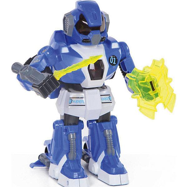 Робот на радиоуправлении Yako Toys, синий (свет, звук, движение)Роботы-игрушки<br>Питание: 9V в пульт. 2*АА - в робота. Управление роботом производится с помощью 2-х сенсорных пультов, зажатых в кулаки - движением, встряхиванием пультов.Робот работает от  трех батареек  ( батарея в комплект не входит).<br><br>Ширина мм: 250<br>Глубина мм: 260<br>Высота мм: 140<br>Вес г: 850<br>Возраст от месяцев: 36<br>Возраст до месяцев: 60<br>Пол: Мужской<br>Возраст: Детский<br>SKU: 7172263